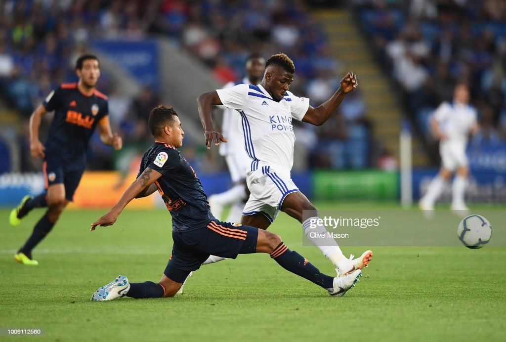 Kelechi Iheanacho of Leiceter City is challenged by Jeison Murillo of Valencia during the pre-season friendly match between Leicester City and Valencia at The King Power Stadium on August 1, 2018 in Leicester, England.