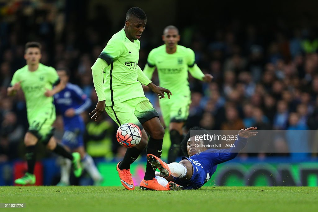 Kelechi Iheanacho of Manchester City and Willian of Chelsea during the Emirates FA Cup match between Chelsea and Manchester City at Stamford Bridge on February 21, 2016 in London, England.