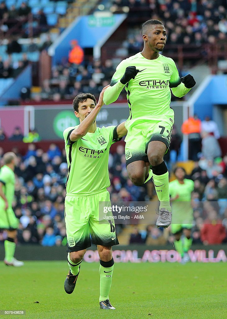 Kelechi Iheanacho of Manchester City celebrates after scoring a penalty to make it 0-2 during the Emirates FA Cup match between Aston Villa and Manchester City at Villa Park on January 30, 2016 in Birmingham, England.