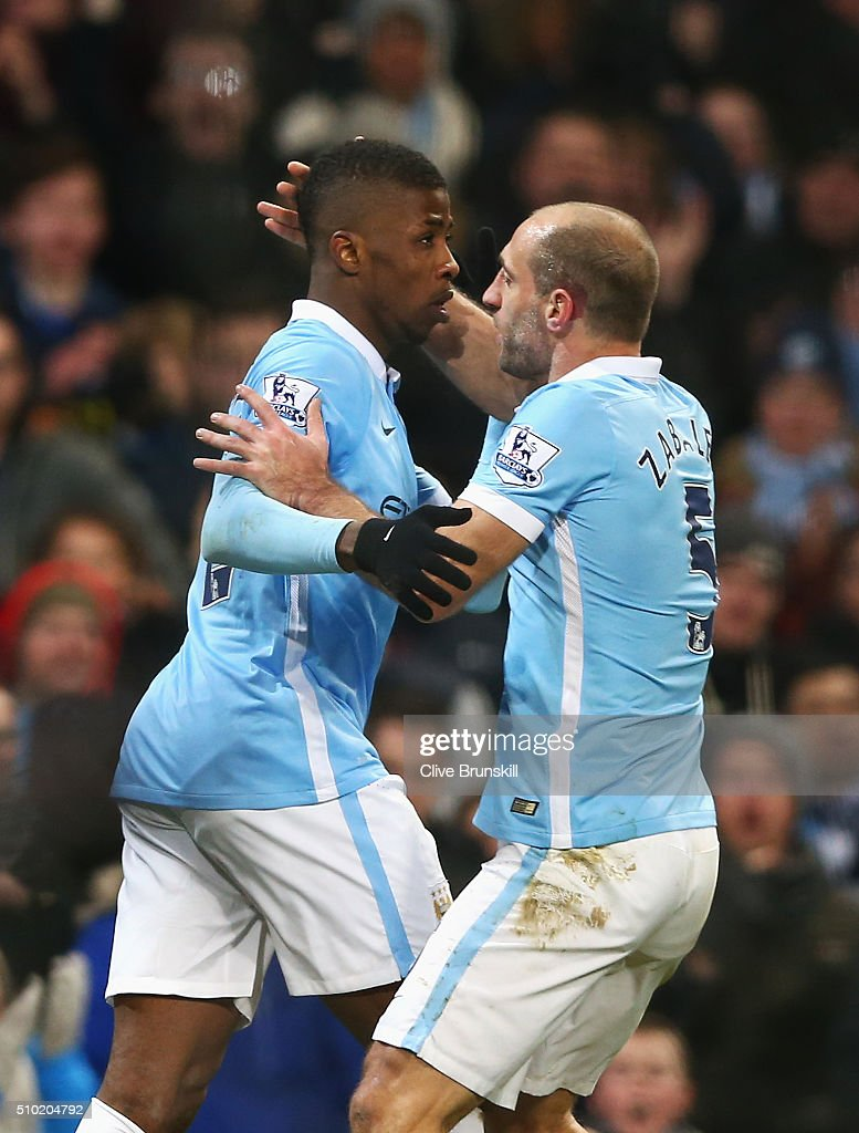 Kelechi Iheanacho of Manchester City celebrates scoring his goal with Pablo Zabaleta of Manchester City during the Barclays Premier League match between Manchester City and Tottenham Hotspur at Etihad Stadium on February 14, 2016 in Manchester, England.