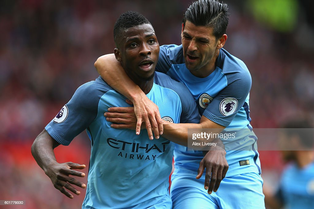 Kelechi Iheanacho of Manchester City celebrates scoring his sides second goal with team mate Nolito of Manchester City during the Premier League match between Manchester United and Manchester City at Old Trafford on September 10, 2016 in Manchester, England.