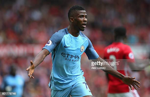 Kelechi Iheanacho of Manchester City celebrates scoring his sides second goal during the Premier League match between Manchester United and...