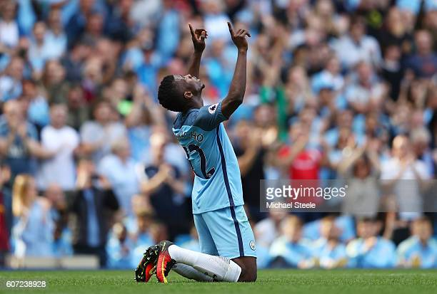 Kelechi Iheanacho of Manchester City celebrates scoring his sides second goal during the Premier League match between Manchester City and AFC...
