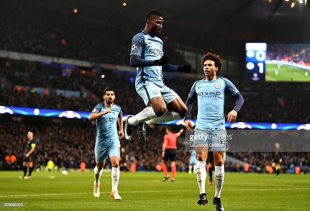 Kelechi Iheanacho of Manchester City celebrates scoring his sides first goal during the UEFA Champions League Group C match between Manchester City FC and Celtic FC at Etihad Stadium on December 6, 2016 in Manchester, England.