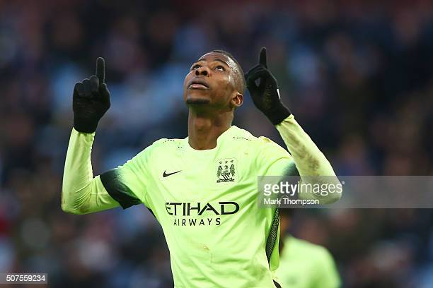 Kelechi Iheanacho of Manchester City celebrates scoring his team's third and hat trick goal during the Emirates FA Cup Fourth Round match between...