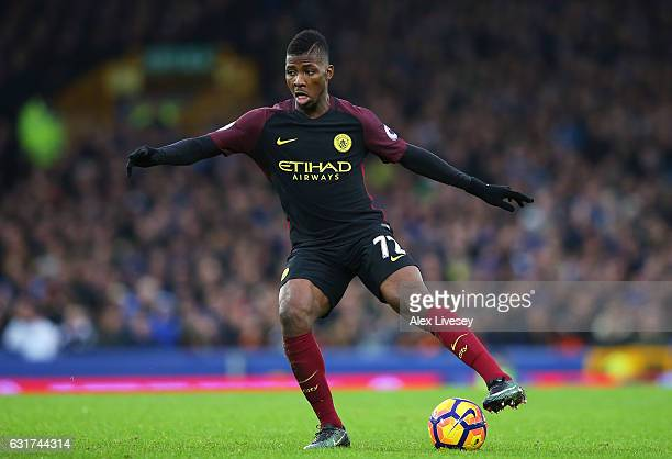Kelechi Iheanacho of Manchester City controls the ball during the Premier League match between Everton and Manchester City at Goodison Park on...