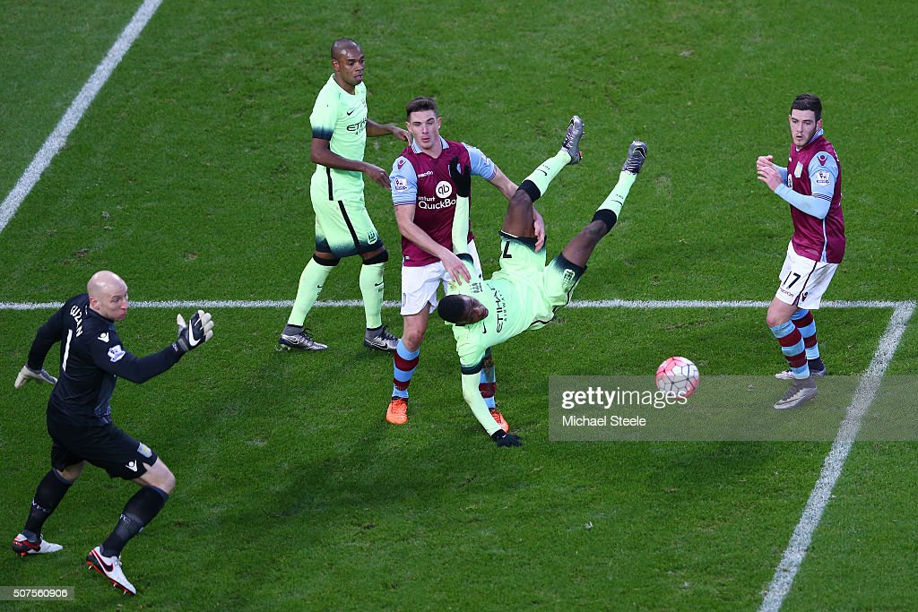 Kelechi Iheanacho of Manchester City goes to ground after performing an overhead kick during the Emirates FA Cup Fourth Round match between Aston Villa and Manchester City at Villa Park on January 30, 2016 in Birmingham, England.
