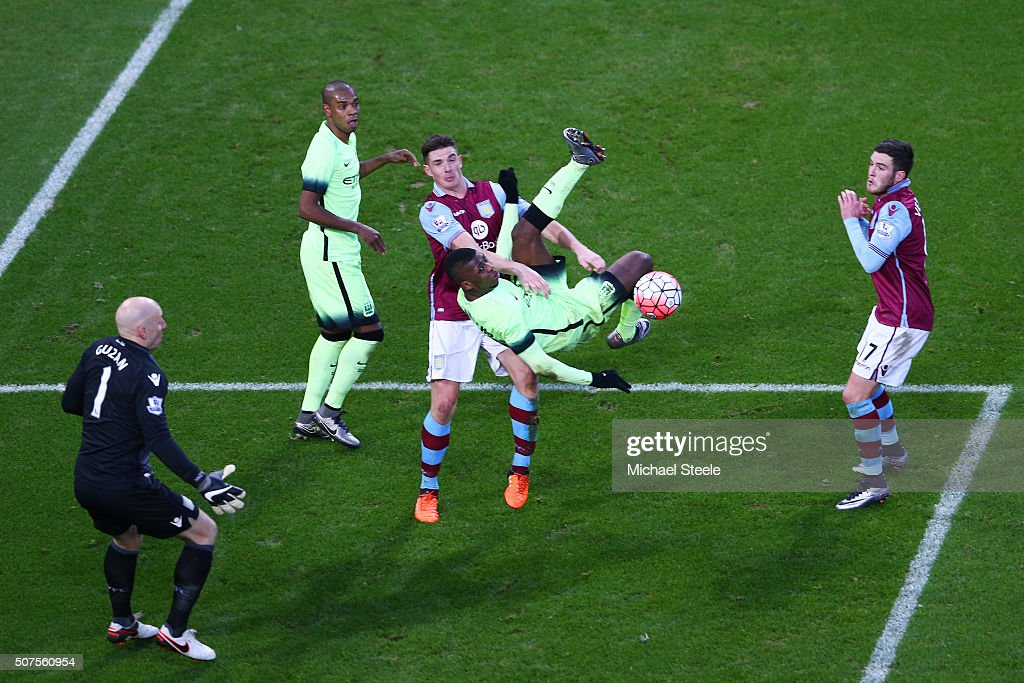 Kelechi Iheanacho of Manchester City performs an overhead kick during the Emirates FA Cup Fourth Round match between Aston Villa and Manchester City at Villa Park on January 30, 2016 in Birmingham, England.