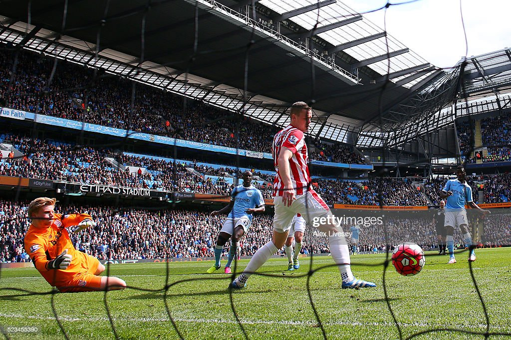 Kelechi Iheanacho of Manchester City scores his first and his sides third goal during the Barclays Premier League match between Manchester City and Stoke City at Etihad Stadium on April 23, 2016 in Manchester, United Kingdom.