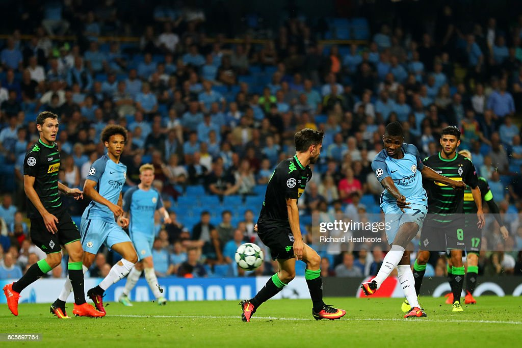 Kelechi Iheanacho of Manchester City scores his sides fourth goal during the UEFA Champions League match between Manchester City FC and VfL Borussia Moenchengladbach at Etihad Stadium on September 14, 2016 in Manchester, England.