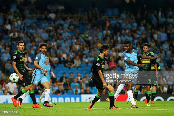 Kelechi Iheanacho of Manchester City scores his sides fourth goal during the UEFA Champions League match between Manchester City FC and VfL Borussia...