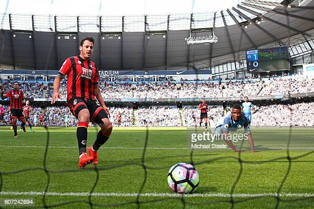 Kelechi Iheanacho of Manchester City scores his sides second goal during the Premier League match between Manchester City and AFC Bournemouth at the...