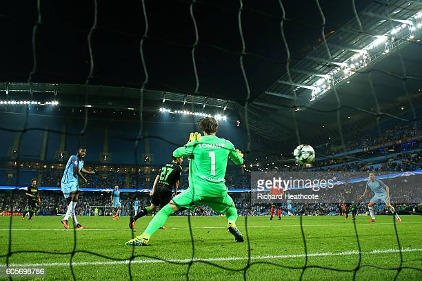 Kelechi Iheanacho of Manchester City scores his teams fourth during the UEFA Champions League match between Manchester City FC and VfL Borussia...