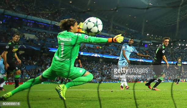 Kelechi Iheanacho of Manchester City scores his teams fourth past Yann Sommer of Borussia Moenchengladbach during the UEFA Champions League match...