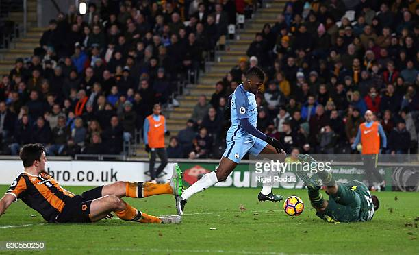 Kelechi Iheanacho of Manchester City scores his team's second goal during the Premier League match between Hull City and Manchester City at KCOM...