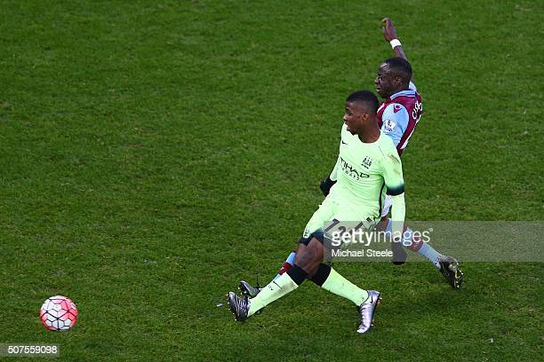 Kelechi Iheanacho of Manchester City scores his team's third and hat trick goal during the Emirates FA Cup Fourth Round match between Aston Villa and...