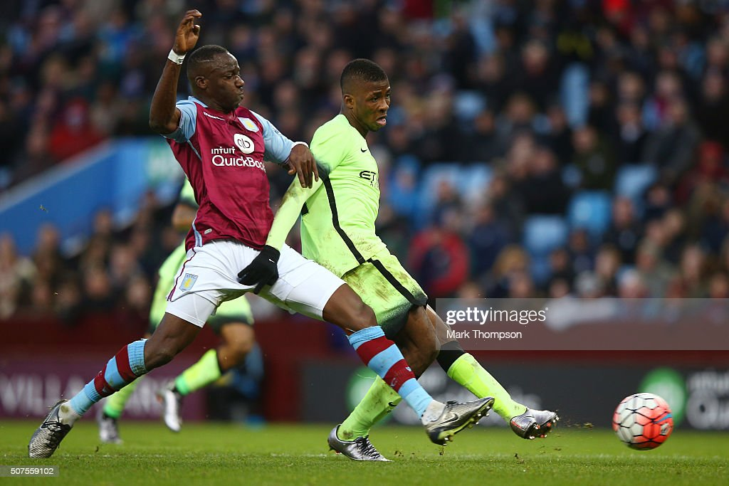 Kelechi Iheanacho of Manchester City scores his team's third and hat trick goal during the Emirates FA Cup Fourth Round match between Aston Villa and Manchester City at Villa Park on January 30, 2016 in Birmingham, England.