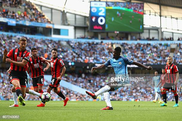 Kelechi Iheanacho of Manchester City shooting during the Premier League match between Manchester City and AFC Bournemouth at the Etihad Stadium on...