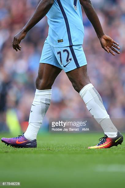 Kelechi Iheanacho of Manchester City wearing two different Nike Mercurial football boot colorways during the Premier League match between Manchester...