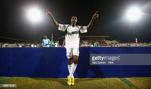Kelechi Iheanacho of Nigeria celebrates after the FIFA U17 World Cup UAE 2013 Semi Final match between Sweden and Nigeria at Al Rashid Stadium on...