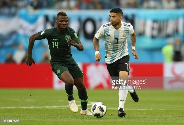 Kelechi Iheanacho of Nigeria closes down Ahmed Musa of Nigeria during the 2018 FIFA World Cup Russia group D match between Nigeria and Argentina at...