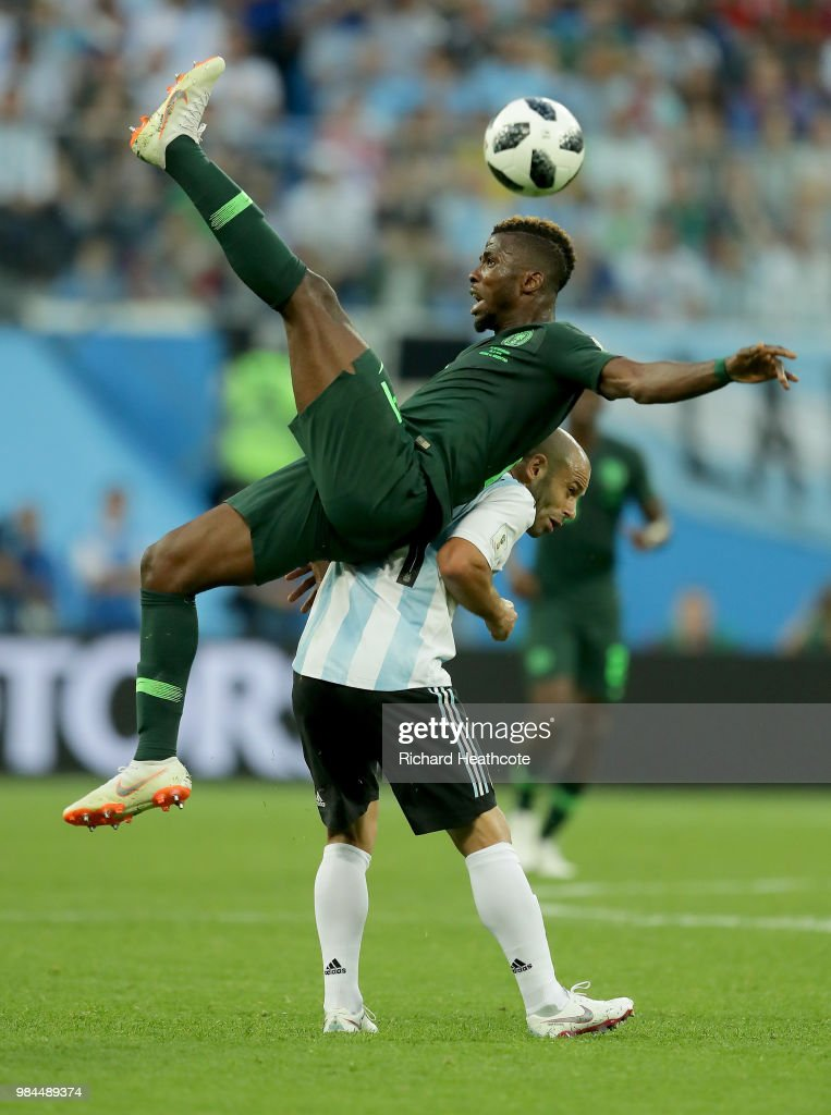 Kelechi Iheanacho of Nigeria is fouled by Javier Mascherano of Argentina during the 2018 FIFA World Cup Russia group D match between Nigeria and Argentina at Saint Petersburg Stadium on June 26, 2018 in Saint Petersburg, Russia.