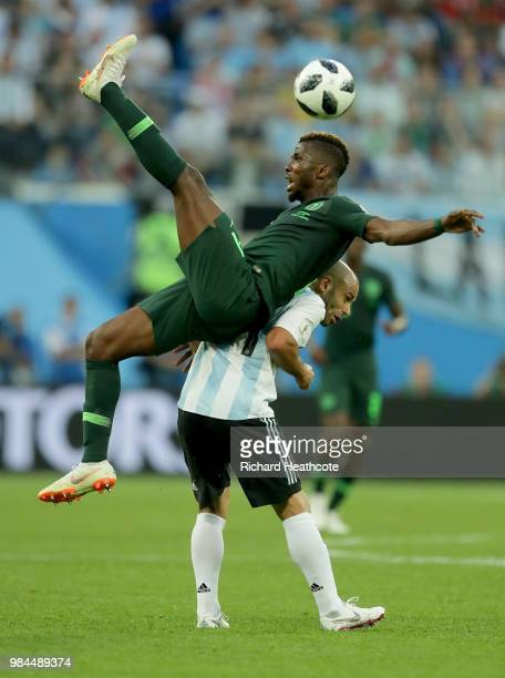 Kelechi Iheanacho of Nigeria is fouled by Javier Mascherano of Argentina during the 2018 FIFA World Cup Russia group D match between Nigeria and...