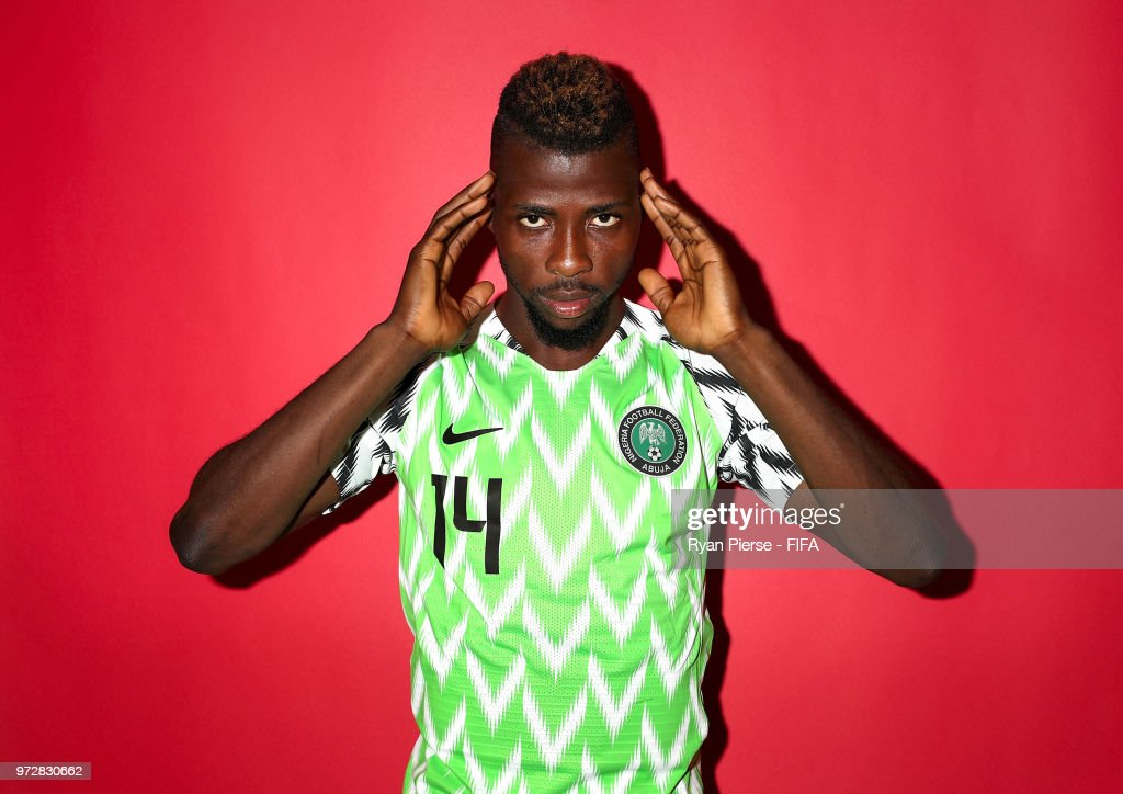 Kelechi Iheanacho of Nigeria poses during the official FIFA World Cup 2018 portrait session on June 12, 2018 in Yessentuki, Russia.