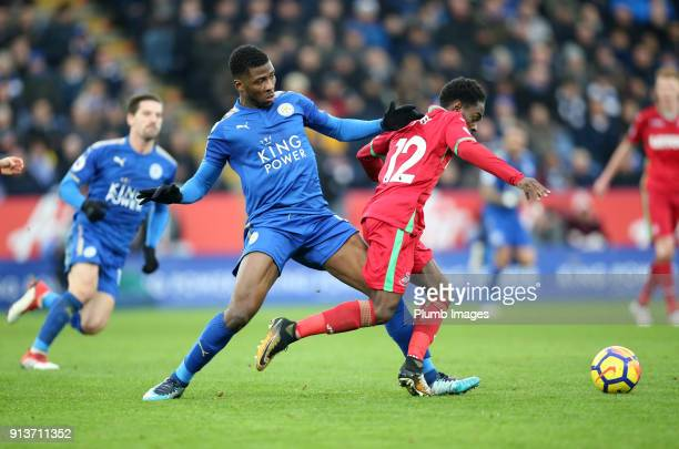 Kelechi Iheanacho of Swansea City in action wit Nathan Dyer of Swansea City during the Premier League match between Leicester City and Swansea City...