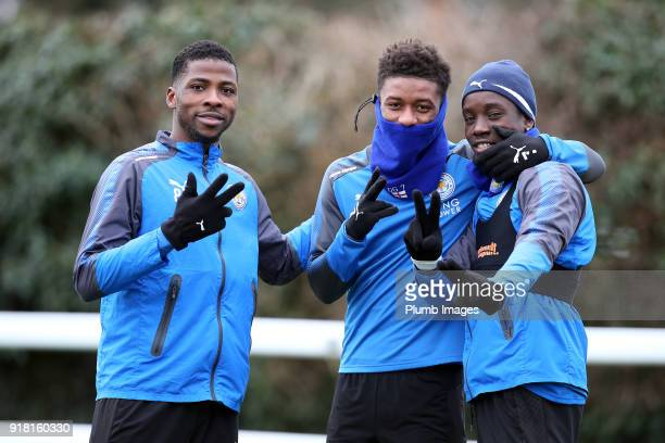 Kelechi Ihenacho Demarai Gray and Fousseni Diabate during the Leicester City training session at Belvoir Drive Training Complex on February 14 2018...