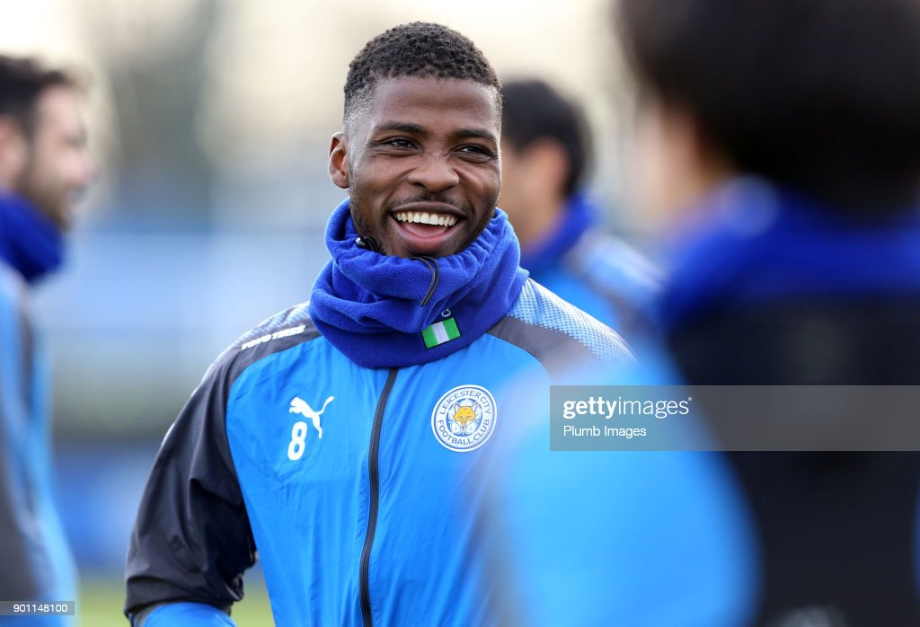 Kelechi Ihenacho during the Leicester City training session at Belvoir Drive Training Complex on January 04 , 2018 in Leicester, United Kingdom.