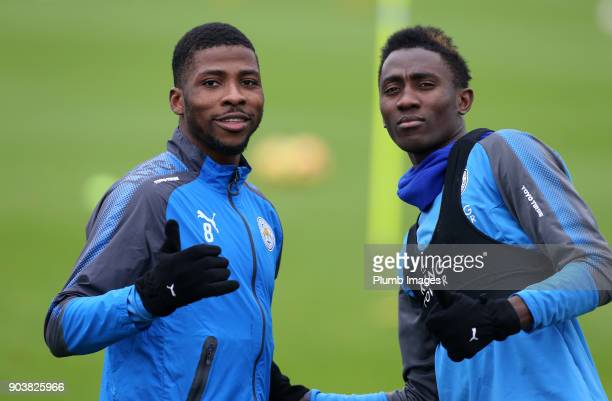 Kelechi Iheneacho and Wilfred Ndidi during the Leicester City training session at Belvoir Drive Training Complex on January 11th 2018 in Leicester...