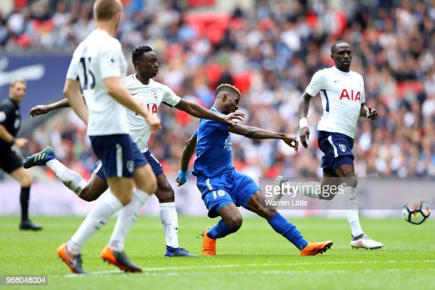 Kelechi Ihseanacho of Leicester City cores his sides third goal during the Premier League match between Tottenham Hotspur and Leicester City at...