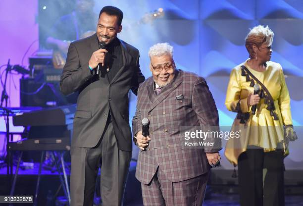 Kelechi Jaavaid Honoree Pastor Rance Allen and Jacky ClarkChisholm speak onstage during BET Presents 19th Annual Super Bowl Gospel Celebration at...