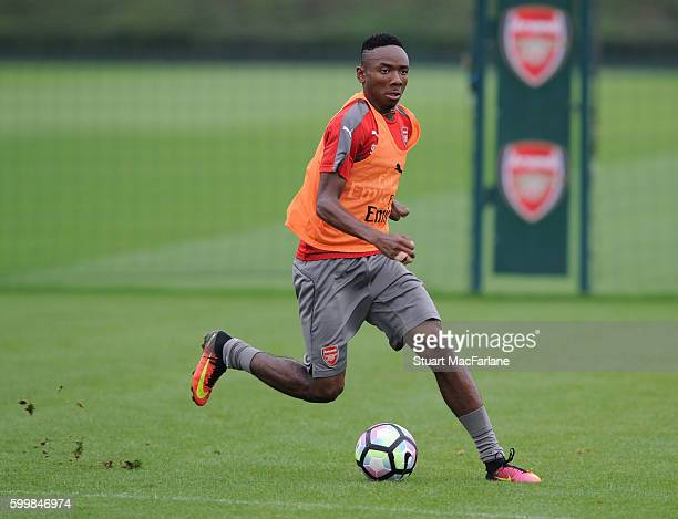 Kelechi Nwakali of Arsenal during a training session at London Colney on September 7 2016 in St Albans England