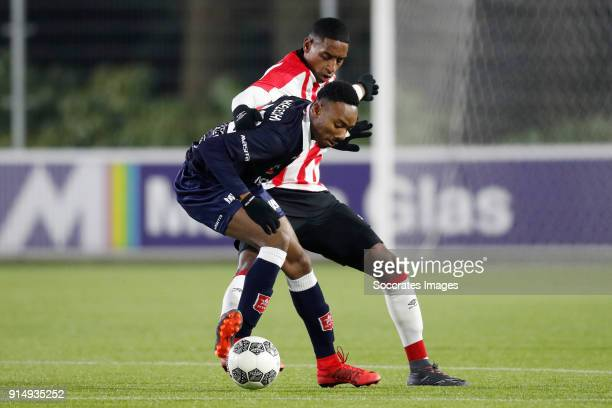 Kelechi Nwakali of MVV Maastricht Pablo Rosario of PSV U23 during the Dutch Jupiler League match between PSV U23 v MVV Maastricht at the De Herdgang...