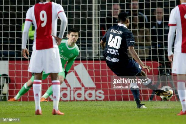 Kelechi Nwakali of MVV Maastricht scores the first goal to make it 01 during the Dutch Jupiler League match between Ajax U23 v MVV Maastricht at the...