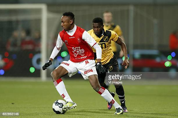 Kelechi Nwakali of MVV Thomas Agyepong of NAC Bredaduring the Jupiler League match between MVV Maastricht and NAC Breda at the Geusselt on January 27...
