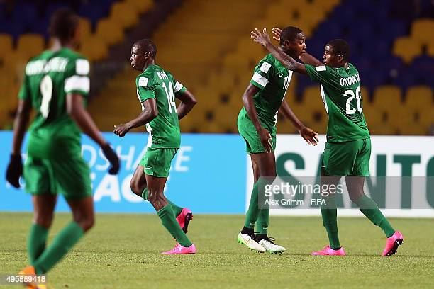 Kelechi Nwakali of Nigeria celebrates his team's first goal with team mates during the FIFA U17 World Cup Chile 2015 Semi Final match between Mexico...