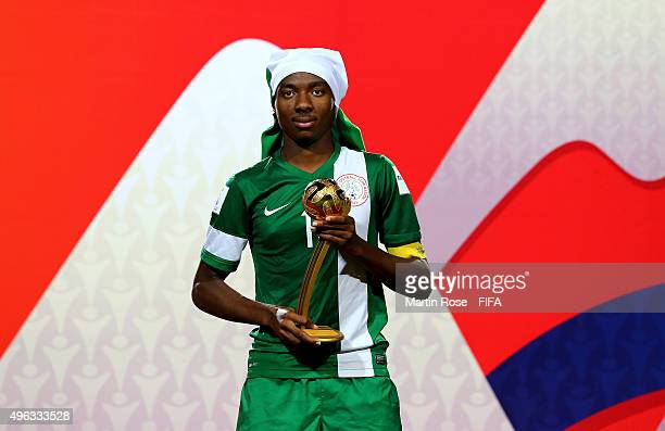 Kelechi Nwakali of Nigeria poses with the adidas golden ball after the FIFA U17 Men's World Cup 2015 final match between Mali and Nigeria at Estadio...