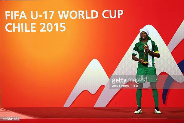 Kelechi Nwakali of Nigeria poses with the adidas Golden Ball after being awarded the best player of the tournament after the FIFA U17 World Cup Chile...