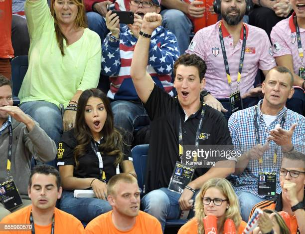 Keleigh Sperry and Miles Teller attend the Wheelchair Basketball Finals on day 8 of the Invictus Games Toronto 2017 at Mattamy Athletic Centre on...