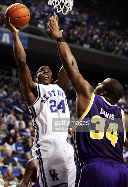 Kelenna Azubuike of Kentucky shoots the ball while defended by Glen Davis of LSU during the game on January 22, 2005 at Rupp Arena in Lexington,...
