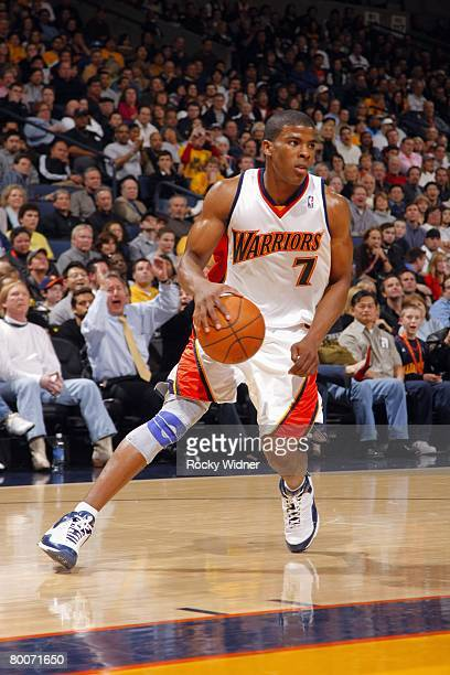 Kelenna Azubuike of the Golden State Warriors moves the ball during the game against the Atlanta Hawks at The Oracle Arena in Oakland on October 15...