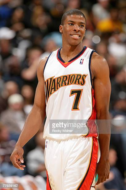 Kelenna Azubuike of the Golden State Warriors smiles during the game against the Cleveland Cavaliers on November 6 2007 at Oracle Arena in Oakland...