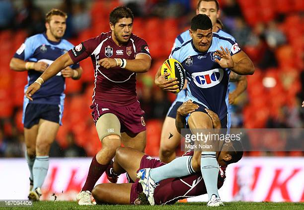 Kelepi Tanginoa of NSW runs the ball during the U20s State of Origin match between New South Wales and Queensland at Centrebet Stadium on April 20,...