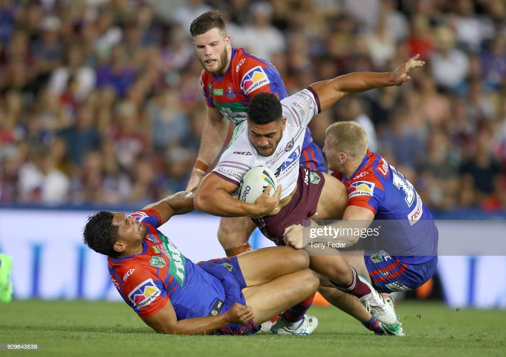 Kelepi Tanginoa of the Sea Eagles is tackled during the round one NRL match between the Newcastle Knights and the Manly Sea Eagles at McDonald Jones Stadium on March 9, 2018 in Newcastle, Australia.