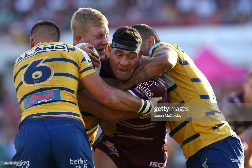 Kelepi Tanginoa of the Sea Eagles is tackled during the round two NRL match between the Manly Sea Eagles and the Parramatta Eels at Lottoland on March 18, 2018 in Sydney, Australia.
