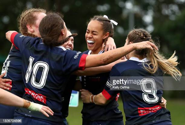 Kelera Ratu of the Rebels celebrates scoring a try during the Super W match between the Melbourne Rebels and the ACT Brumbies at Coffs Harbour...
