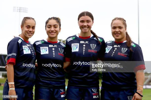 Kelera Ratu of the Rebels, Kirsty Matapa of the Rebels, Jade Te Aute of the Rebels and Ashley Marsters of the Rebels pose for a portrait after the...